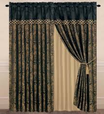 Black Gold Curtains Chezmoi Collection Lisbon 4 Jacquard Floral Window Curtain