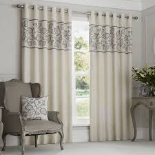 leaf embroidered band lined eyelet curtains dove