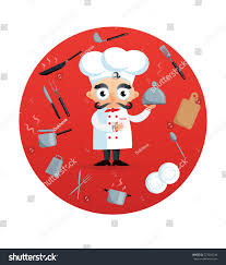 funny chef dish vector illustration kitchen stock vector 527059246