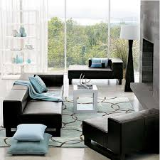 intriguing living room with aqua blue area rug and glamorous black