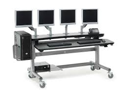 office table on wheels anthro adjustable height modular computer desks workspace