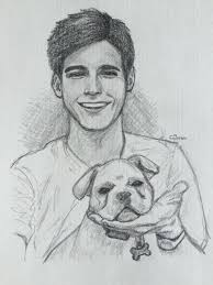 casual sketching ifs cute guy with his dog drawing of people