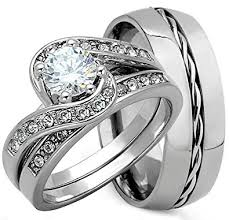 his and wedding ring set 3 pieces men s and women s his hers 925 genuine