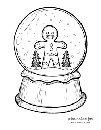 christmas snow globe with gingerbread man coloring page print