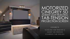 retractable home theater screen cinegrey 5d ambient light rejecting tab tension motorized