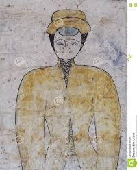 thai esarn famous unique myth story mural fresco painting stock art buddhism