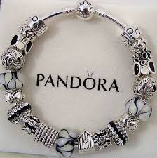 pandora silver bangle charm bracelet images Authentic pandora sterling silver charm bracelet 8 3 quot blue black jpg
