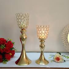 Candle Holders Decorated With Flowers Gold Metal Candle Holders Stand Flowers Vase Candlestick As Road
