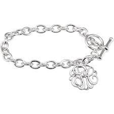 monogram charm customizable 3 letter script monogram charm bracelet in sterling silver