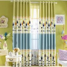 Green Color Curtains Cute Beige Animal Print Poly Cotton Blend Color Block Kids Curtains