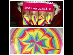 nail art rainbow water marble shout dearnatural62 youtube