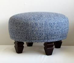 tuffet in blue ikat upholstered
