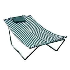 4 point hammock lounger green and white stripe