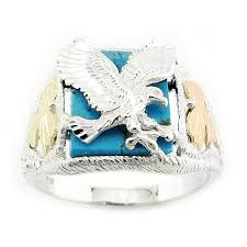 mens rings with images Mens black hills gold sterling silver eagle ring with turquoise jpg