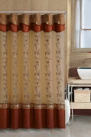Shower Curtain And Valance Cinnamon Two Layered Embroidered Fabric Shower Curtain With