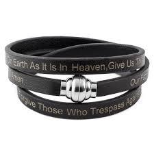 black leather wrap bracelet images Shop lord 39 s prayer stainless steel leather wrap bracelet 6mm jpg