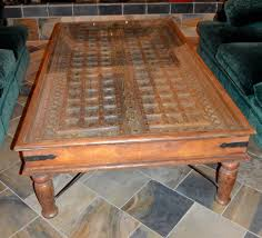Old Coffee Table by Arte De Mexico Old World Spanish Style Wooden Door With Glass Top
