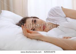young cute couple sleeping together bed stock photo 579811462