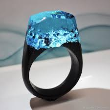 rings with crystal images Wooden ring quot crystal lake quot shop online on livemaster with jpg