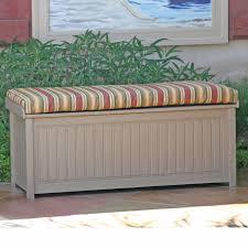 Suncast 50 Gallon Patio Bench by Brisbane 48 In Recycled Plastic 61 Gallon Deck Box With Sunbrella