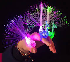 novelty led flash toys light up peacock rings toys for