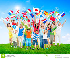 Flags Of The Wrld People Holding National Flags Of The World Stock Photo Image