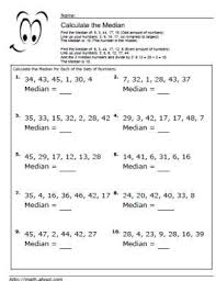 median worksheets for math students