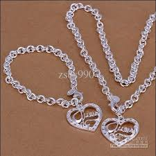 silver necklace bracelet set images 2018 hot couple love jewelry 925 silver necklace bracelet set jpg