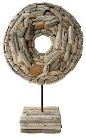 handmade driftwood sculpture on stand artistic rustic mid