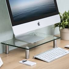 Flat Computer Desk Fitueyes Clear Computer Monitor Riser Save Space