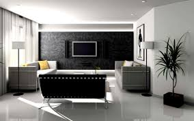 great livingroom decorations with large black sofa and house plant