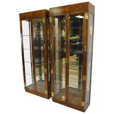 Henredon Bedroom Furniture Used Pair Of Campaign Style Display Cabinets By Henredon For Sale At