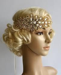 gold headpiece gold rhinestone flapper gatsby headband wedding