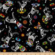 day of the dead home decor timeless treasures day of dead pups black discount designer