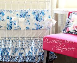 Vintage Floral Crib Bedding Shabby Chic Baby Crib Bedding Porcelain Blue And White