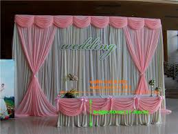 Pink Table L 400cm L 80cm H White Wedding Table Skirt With Pink Table