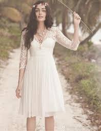 discount a line lace bohemian short wedding dresses 3 4 long
