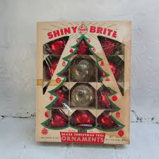 red glass shiny brite christmas tree ornaments in original vintage