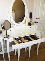bedroom cozy white vanity set ikea with glass top and ikea table
