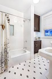 blue and white shower curtain bathroom transitional with hex tile