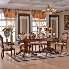 Carved Dining Table And Chairs European Style Vintage Carved Solid Wood Extended Dining