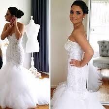 fishtail wedding dress new arrival vestido de noiva sereia appliques strapless