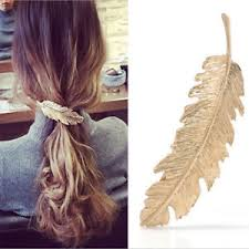 feather hair women gold leaf feather hair clip hairpin barrette bobby pins hair