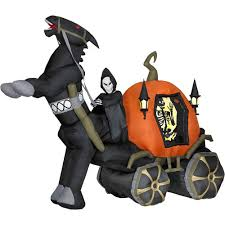 foot halloween inflatable reaper carriage with horse