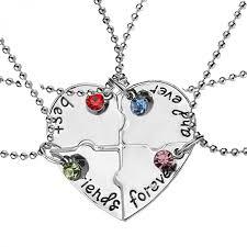 best friends heart necklace images 4 pcs set hot sale heart necklace best friends forever and ever jpeg