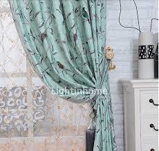 Teal Bird Curtains Beautiful And Delicate Room Darkening Bird Print Curtains