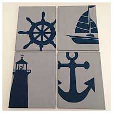 Nautical Painting 4 Nautical Nursery Paintings In Navy And Gray Boat Ship Wheel