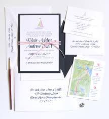 Layered Wedding Invitations Sailboat Layered Invitation Suite Watercolor Wedding Invitations