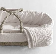 Baby Moses Basket Bedding Set Heirloom Quilted Voile Moses Basket Bedding Ash Basket Set
