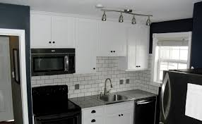White Subway Tile Kitchen Backsplash Black And White Subway Tile Incredible 8 With Accent Design Ideas